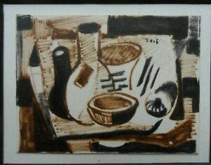 SEIF WANLY (EGYPT) 1906-1979 FINE RARE ORIGINAL SIGNED PAINTING STILL LIFE 1956