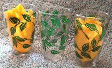 LIBBEY Mid-Century 3 Tumbler  Glasses 16 Ozs. w/ Green Leaves HTF Pattern!