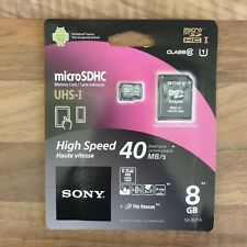 SONY MicroSD SDHC Memory Card 8GB High Speed Class 10 + Adapter - New & Genuine