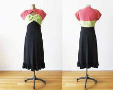 Vintage 1930s 1940s Dress Tri Color Crepe  Bow Front Pink Green Black Small