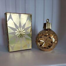 Vintage Avon Bubble Bath Decanter / Bottle -Gold Glass Christmas Ornament Empty