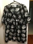 SARA NWOT Sz1X (18/20*) Black & White Blouse Top Shirt Satin Fabric Free Postage