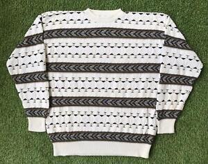Vintage 90s GEOFFREY BEENE Cosby Style Mens XL Jumper Sweater   3D Knit