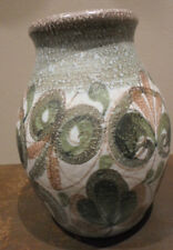 Vintage Denby Langley vase, green floral, Glyn Colledge studio pottery, 1950s