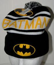 DC Comics Pom-Pom Batman Winter Black & Yellow Knit Cap Hat New 2014