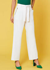 Tailored White Trousers with Tie Waist And gold Zip Detail Size 16 (36w 31L)