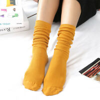 1pair Women Girl Autumn Winter Casual Mid Calf Cotton Socks