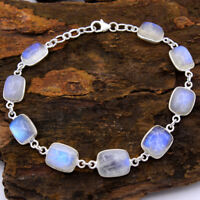 Gorgeous Moonstone Cushion Shape 925 Sterling Silver Handmade Bracelet 7.5""