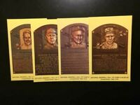 Lot of 4 Baseball HOF Yellow Plaque Postcards,NMMT,W/CY YOUNG-COBB-Free ship