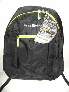 Swiss Gear Back-Pack For Back To School - Book Bag - Black & Trim Green NWT
