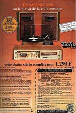 Publicité advertising 1976 la Chaine Hi-Fi Donasonic 2020 par Difor