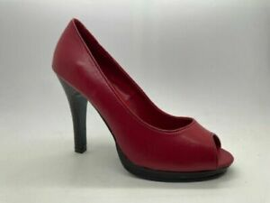 Ladies Shoes Pierre Fontaine Koko Red Peep toe High Heels CLEARANCE Sizes 6 - 7