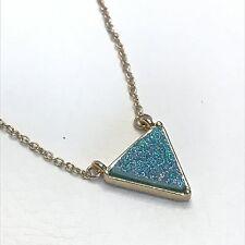 Triangle pendant necklace womens drusy druzy stone gold sparkle designer green