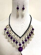 Cowrie Shell Necklace Choker Surfer Boho Festival - Purple Beads Set