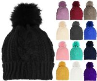 Womens Soft Stretch Cable Knit Winter Pom Pom Beanie Hat