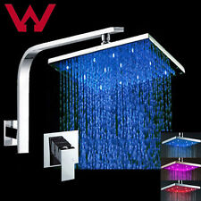 """Watermark WELS 8"""" Rainfall LED Shower Head Arm and mixer tap brass set Square"""