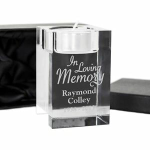 Personalised Engraved In Loving Memory Of Mum Dad - Tealight Candle Glass Holder