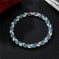 Gorgeous Woman Handmade Jewelry Rectangle Ocean Blue Topaz Gems Silver Bracelet