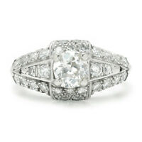 Vintage Old Mine Cut Diamond Engagement Ring with Accents Platinum 1.00ctw