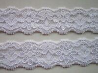 2 meter Elegante Spitze Weiß elastisch 2.2cm breit Borte 0881 s