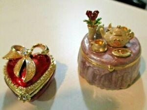Monet Trinket Box Red Heart Table Pill Box Ring Box