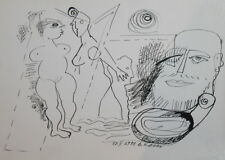 1992 - ABSTRACT MODERNISM SURREALISM NUDE INK PAINTING FIGURES SIGNED