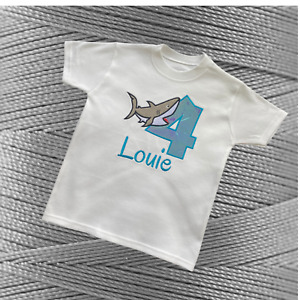 Personalised Embroidered Childrens Birthday T-Shirt Cute Applique Shark Design