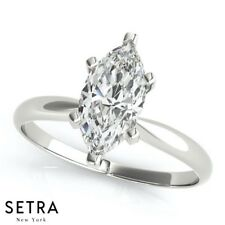 Solitaires Marquise Cut Diamond Engagement Rings 14k Gold