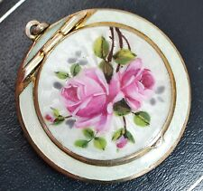 Fine Antique SOLID SILVER Mint Guilloche Enamel Roses MIRRORED COMPACT Locket