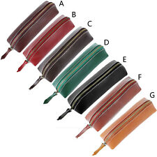 Genuine Leather Zipper Pen Pencil Pouch Wallet Glasses Bag Toolkit Case Purse