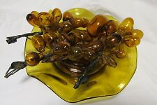 MID-CENT. MURANO? SET, AMBER HAND BLOWN GLASS, 3 GRAPE CLUSTERS, 4 FRUIT & BOWL