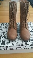 Women's Shoes Bamboo Warrior 04 Casual Lace Up Zipper Combat Boot Chestnut *New*