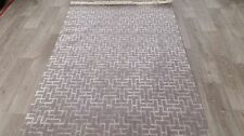 TURKISH  RUG, MODERN GEOMETRIC, 1.87 x 1.30M, GREY,WOOL & VISCOSE
