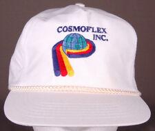Vtg Cosmoflex Inc Hat-White-Zipback-Rope Bill-Trucker-Rubber Plastic Factory