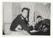 Vintage Photo Young Man Doing Homework 1950's A10