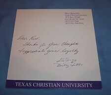 Tcu Coach Billy Tubbs Signed Autographed Personal Card Letter Oklahoma Rare