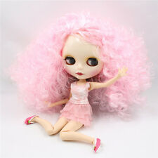 Blythe Nude Doll from Factory Jointed Body White Skin Pink Curly Hair