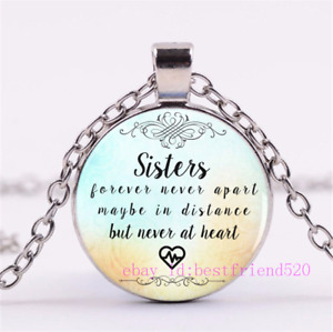 Ado Glo Christmas Sister Gifts Always My Sister Forever My Friend Love Heart Pendant Necklace Fashion Jewelry for Women Girls BFF Birthday Anniversary Xmas Present from Brother to Her