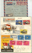 Singapore 3 Registered covers (2 fdc) 1955-66, National Day 1962, 1st Anniversar