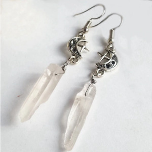 CLEAR CRYSTAL Drop Earrings Gothic Sun Moon Wired Silver Point