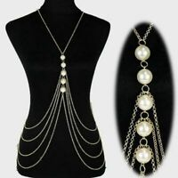 Body Chain Jewelry Long Necklace Pearl Chest Women Layered Punk 2 Colors