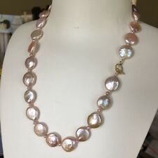 Baroque Button Pearl Nature purple 12-13mm elegant necklace 46cm High Luster