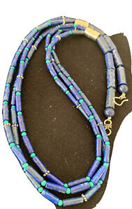 "Stunning! Navajo Lapis 3S Sterling Silver Turquoise Bead Necklace 24"" 1147"