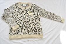 NWT Womens Sz L Nurture Fuzzy Sweater Tan Black Swirls Soft Large Crew Neck