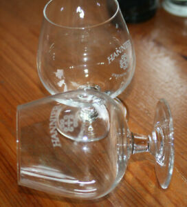 vintage HANNIER French Brandy Original Glass  X 2 glasses