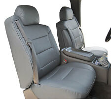 CHEVY SILVERADO 2000-2002 GREY S.LEATHER CUSTOM MADE FRONT SEAT & 2ARM COVERS