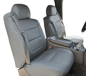 CHEVY SILVERADO 2003-2006 GREY S.LEATHER CUSTOM MADE FRONT SEAT & 2ARM COVERS
