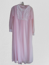 Vtg Sears and Roebuck Nylon Nightgown Sheer Pink Chiffon Robe Set Sz Small