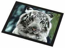 Siberian White Tiger Black Rim Glass Placemat Animal Table Gift, AT-13GP