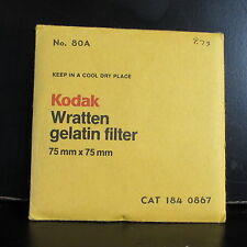 "Used Kodak Color Dark Blue 75X75mm 3X3"" Square Gelatin Filter No. 80A O41246"